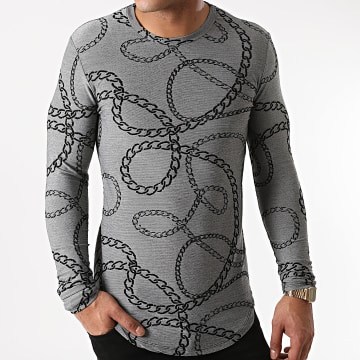Frilivin - Tee Shirt Manches Longues Oversize U2151 Gris Chiné