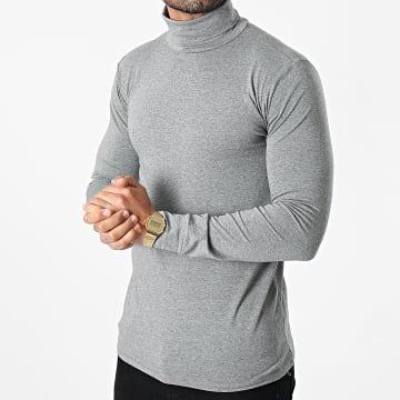 Frilivin - Tee Shirt Manches Longues Col Roulé BM1153 Gris Chiné