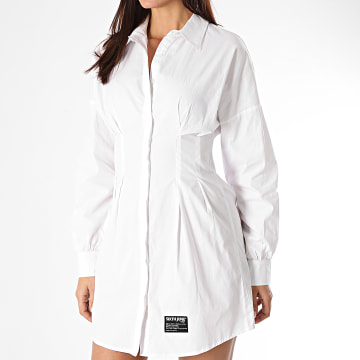 Sixth June - Robe Chemise Manches Longues Femme W32449KDR Blanc