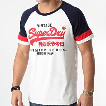 Superdry - Tee Shirt VL Tri Colour Raglan M1000062A Gris Clair Chiné Bleu Marine