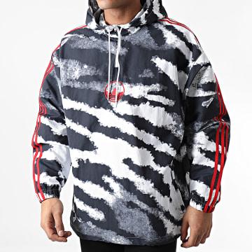 Adidas Originals - Coupe-Vent Capuche A Bandes Zebra AOP GD2130 Blanc Noir