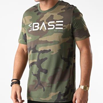 La Base - Tee Shirt Logo Camouflage Vert Kaki