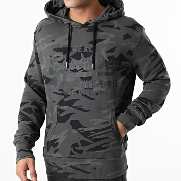 Superdry - Sweat Capuche VL AOP M2010480B Gris Anthracite Camouflage