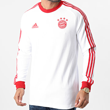 Adidas Performance - Tee Shirt Manches Longues A Bandes FC Bayern Munich Icons GM3995 Blanc Rouge