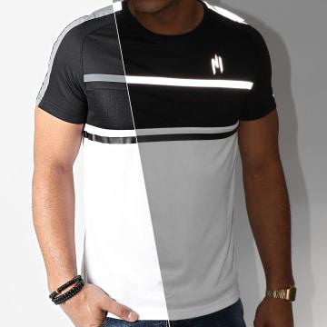 NI by Ninho - Tee Shirt Réfléchissant A Bandes Diamond Blanc Noir