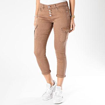 Only - Pantalon Cargo Femme Marya-Pinara Life Marron