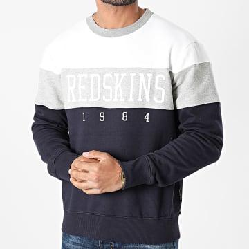 Redskins - Sweat Crewneck Tricolore Fouga Skyline Bleu Marine Gris Chiné Blanc