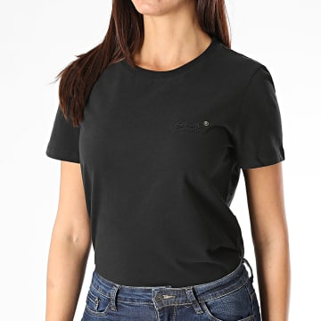 Superdry - Tee Shirt Femme Orange Label Noir
