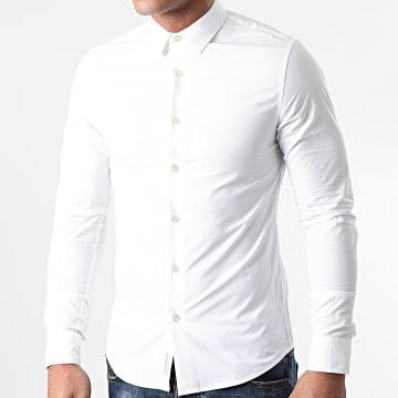 Calvin Klein - Chemise Manches Longues Chest Logo Slim 6085 Blanc