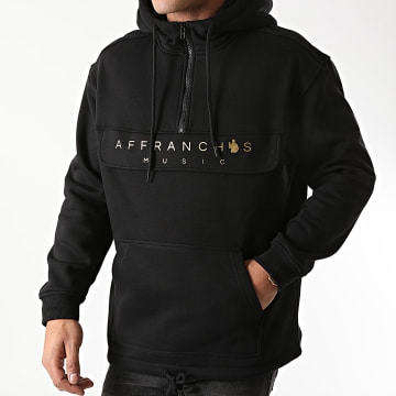 Affranchis Music - Sweat Outdoor Col Zippé Logo Noir Doré