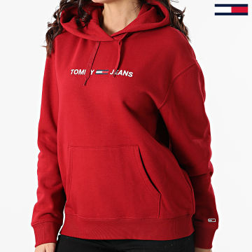 Tommy Jeans - Sweat Capuche Femme Linear Logo 8972 Bordeaux