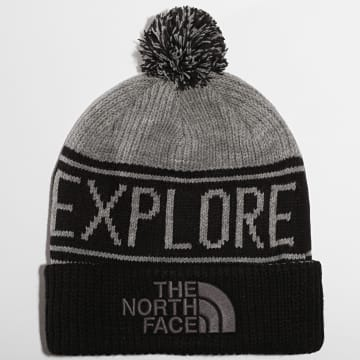 The North Face - Bonnet Retro Pom Gris Chiné Noir