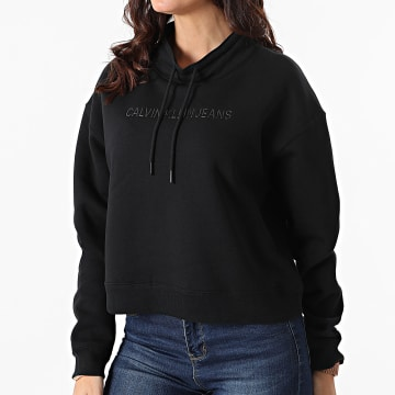 Calvin Klein - Sweat Capuche Femme Shiny Institutional 4819 Noir