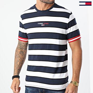 Tommy Jeans - Tee Shirt A Rayures Small Text Stripe 9403 Bleu Marine Blanc