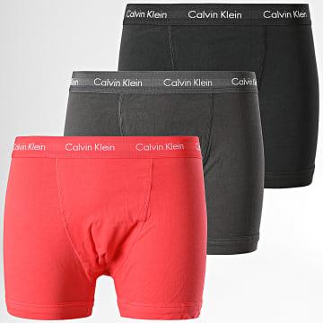 Calvin Klein - Lot De 3 Boxers Cotton Stretch U2662G Noir Gris Anthracite Saumon