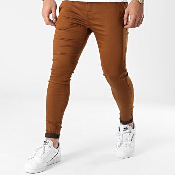 GRJ Denim - Pantalon Chino Slim ADJ2030 Marron
