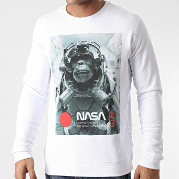 NASA - Sweat Crewneck Chimp In Space Blanc