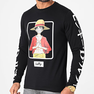 One Piece - Tee Shirt Manches Longues Selfie Luffy Front Noir