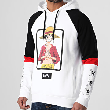 One Piece - Sweat Capuche Selfie Luffy Front Blanc Noir