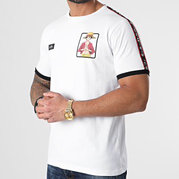 One Piece - Tee Shirt A Bandes Luffy Blanc