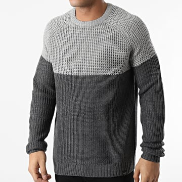 Only And Sons - Pull Kelvin Gris Chiné Gris Anthracite