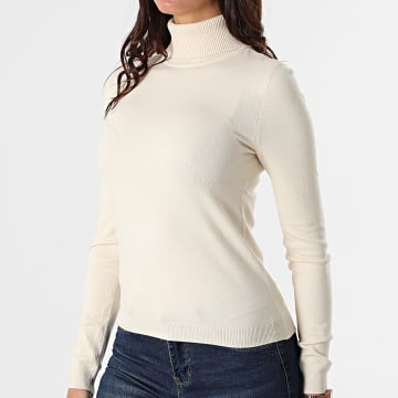 Vero Moda - Pull Col Roulé Femme Happiness Beige