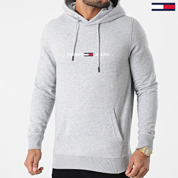 Tommy Jeans - Sweat Capuche Straight Logo 8474 Gris Chiné