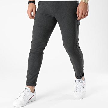 Aarhon - Pantalon Chino Slim A005 Gris Anthracite Chiné