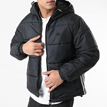 Adidas Originals - Doudoune Capuche A Bandes Pad GE1291 Noir