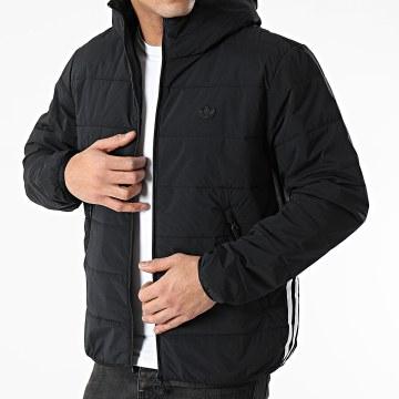Adidas Originals - Doudoune Capuche A Bandes LW ZT Trefoil GE1342 Noir