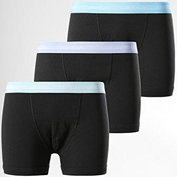 Calvin Klein - Lot De 3 Boxers Cotton Stretch U2662G Noir Bleu Clair Mauve Vert Clair