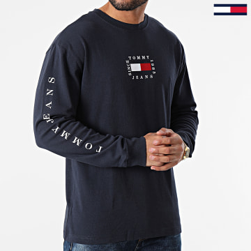 Tommy Jeans - Tee Shirt Manches Longues Box Flag 8798 Bleu Marine