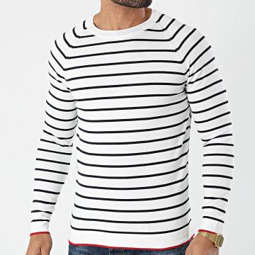 Armita - Tee Shirt Manches Longues A Rayures ALP-309-1 Blanc