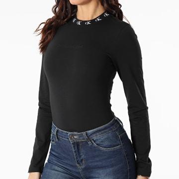 Calvin Klein - Body Femme Manches Longues CK Logo Trim 4996 Noir