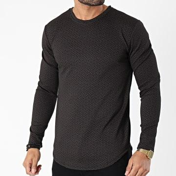 Frilivin - Tee Shirt Manches Longues Oversize 15106 Noir Bordeaux