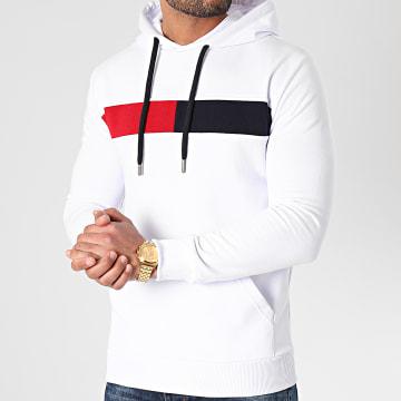 LBO - Sweat Capuche Bande Bicolore 1374 Blanc