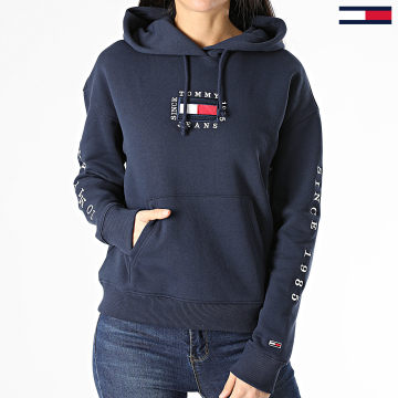 Tommy Jeans - Sweat Capuche Femme Box Flag 0496 Bleu Marine
