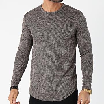 Frilivin - Tee Shirt Manches Longues Oversize 15078 Marron Chiné