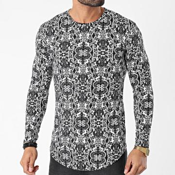 Frilivin - Tee Shirt Manches Longues Oversize Floral U2263 Blanc Noir