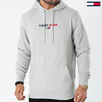 Tommy Jeans - Sweat Capuche Linear Logo 1016 Gris Chiné