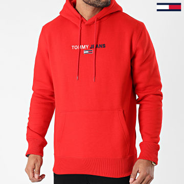 Tommy Jeans - Sweat Capuche Linear Logo 1016 Rouge