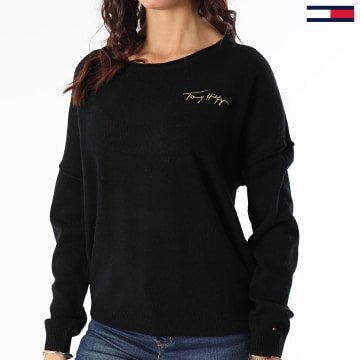 Tommy Hilfiger - Pull Femme Softwool Open NK Graphic 1089 Noir