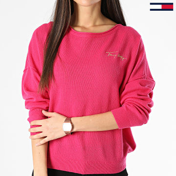 Tommy Hilfiger - Pull Femme Softwool Open NK Graphic 1089 Rose Fushia