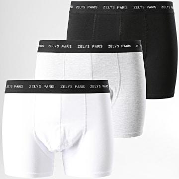 Zelys Paris - Lot De 3 Boxers Bjack Noir Blanc Gris Chiné