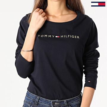 Tommy Jeans - Tee Shirt Femme Manches Longues Logo Gold 1908 Bleu Marine Doré