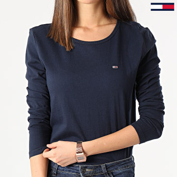 Tommy Jeans - Tee Shirt Femme Manches Longues Soft Jersey 6900 Bleu Marine
