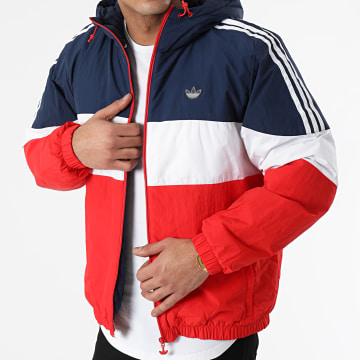 Adidas Originals - Doudoune Capuche Tricolore Spirit Pad GE1285 Bleu Marine Rouge Blanc