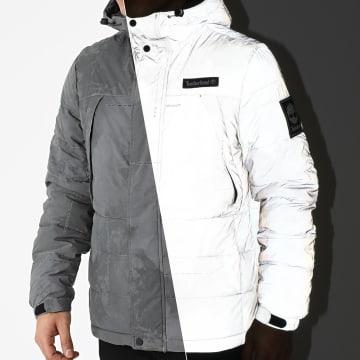 Timberland - Doudoune Capuche Réfléchissant Puffer Jacket Weather Print A2D9A Gris