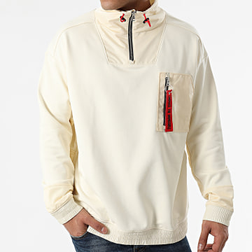HUGO - Sweat Col Zippé Damboo 50443277 Beige