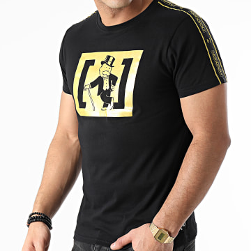 Capslab - Tee Shirt A Bandes RIC Noir Doré